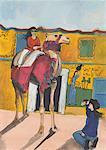 Jeune femme photographier son compagnon sur un chameau décoré avec hiéroglyphes sur le mur en arrière-plan