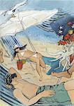 Homme et femme sur un transat sous le parasol sur la plage