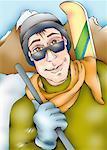 Closeup of man with ski apparel