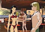Homme et femme faire griller l'autre dans un bar de plage