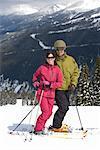 Portrait of Couple Skiing, Whistler, British Columbia, Canada