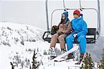 Couple on Ski Lift, Whistler-Blackcomb, British Columbia, Canada