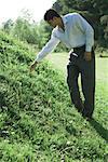 Homme debout sur la colline herbeuse, atteignant pour la fleur