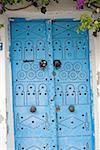 Tunisia, Sidi Bou Said, traditional door
