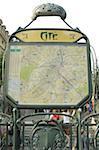 France, Paris, Cité station, subway map