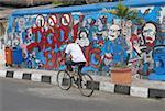 Indonésie, Yogyakarta, Java, Kraton de district, des graffitis sur un mur