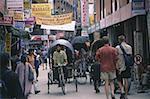 Nepal, Kathmandu, Thamel, rickshaws in lane
