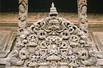 Nepal, Kathmandu, temple, sculpted wooden tympanum