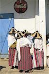 Morocco, Khemis Anjra, souk, Jebala women wearing traditional costume