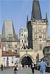 Czech Republic, Prague, Charles Bridge and Lesser Town Bridge Towers