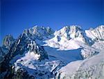 France, Alps, Mont-Blanc and glacier
