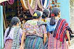 Guatemala, Santiago Atitlan, market, Indian women wearing traditional costume