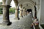 Guatemala, Antigua, Plaza Mayor, arches of the city hall