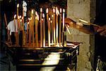 Cyprus, near Paphos, Ayios Neophytos monastery, votive candles