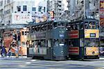 Chine, Hong Kong, District de Wan Chai, tramway