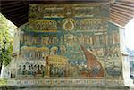 Roumanie, Moldavie, province de Bucovine, église du monastère de Voronet, fresque du jugement dernier