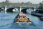 France, Paris, bateau mouche on the Seine (pont de la Concorde)