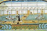 Italy, Campania, Naples, Santa Chiara Monastery, ceramic tiles depicting the cloister