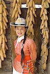 China, Yunnan, near Kunming, Yunnan Nationalities Village, young Naxi woman