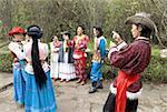 China, Yunnan, near Kunming, Yunnan Nationalities Village, traditional costumes of several chinese ethnic groups