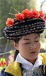 China, Yunnan, near Kunming, Yunnan Nationalities Village, young Bai woman