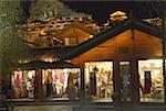 China, Yunnan, Lijiang, souvenir shops by night