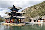 Piscine de dragon de Lijiang, noir Chine, Yunnan, parc, Pavillon