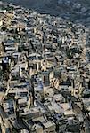 Israël, Jérusalem, vue aérienne du quartier palestinien et de vallée du Cédron