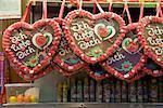 Lebkuchenherzen in Candy Booth at Carnival, Dusseldorf, Germany