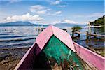 Traditional Wooden Canoe on Shore, Lake Atitlan, Santa Catarina Palopo, Guatemala