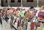 Uzbekistan, Bukhara, Lyabi Haus square, festive head-dresses