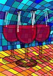 Illustration of Red Wine in Glasses