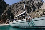 Couple sur le bateau, Dodécanèse, Grèce
