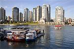 Traversiers à passagers sur False Creek, Granville Island, Vancouver, Colombie-Britannique, Canada