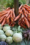 Chou-rave, les carottes et les betteraves au marché fermier