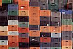 Stacks of plastic crates