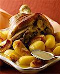 Jarret de jambon aux pommes et pommes de terre au cidre