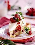 blanc gâteau éponge au chocolat avec des fruits d'été
