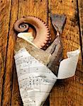 Poisson cru dans le cône de papier