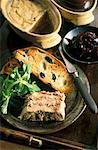 Millefeuille de foie gras et lièvre rillettes de canard