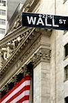 Wall Street Sign and New York Stock Exchange, New York City, New York, USA