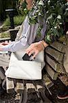 A thief stealing a purse from a handbag
