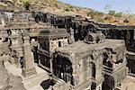 Old ruins of a building, Kailash Temple, Ellora, Aurangabad, Maharashtra, India