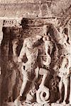 Statues of Hindu god carved in a cave, Ellora, Aurangabad, Maharashtra, India