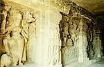 Statue of Hindu goddess carved in a cave, Ellora, Aurangabad, Maharashtra, India
