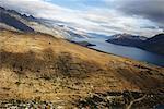 Antenne de lac et montagnes, South Island, Nouvelle-Zélande