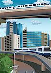 Trains sur les ponts d'étagement dans le paysage urbain