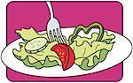 Une fourchette dans une assiette de salade