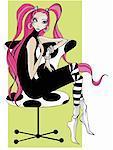 Aux cheveux longs femme assise sur une chaise polka dot