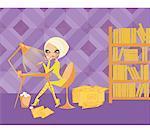 Frau am Schreibtisch mit Laptop, umgeben von Dateien und Bücherregal